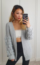 Grey Large Knit Bobble Cardigan by GIGILAND UK