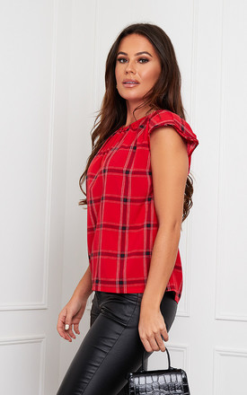 Sidney Pleated Neck Shoulder Pad Top Red Check by Girl In Mind