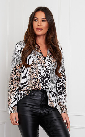 Carlie Long Sleeve Shirt White Animal Print by Girl In Mind Product photo