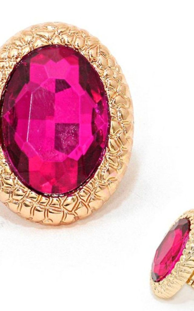 Cerise Pink Over-Sized Stretch Style Cocktail Rings by Olivia Divine Jewellery