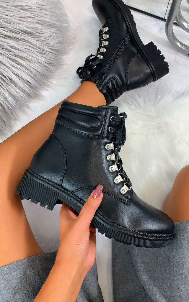 Damaris Hiker Style Boots in Black by Larena Fashion