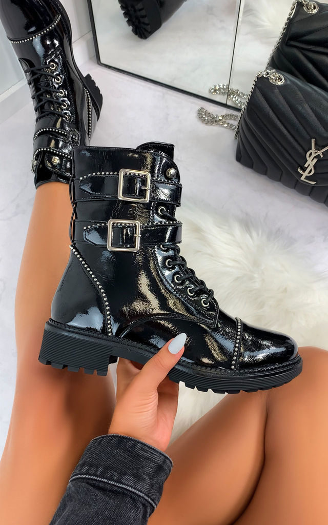 Aretha Biker Ankle Boots in Patent Black by Larena Fashion