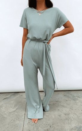 Claude Ribbed Loungewear Jumpsuit - Sage Green by Pretty Lavish