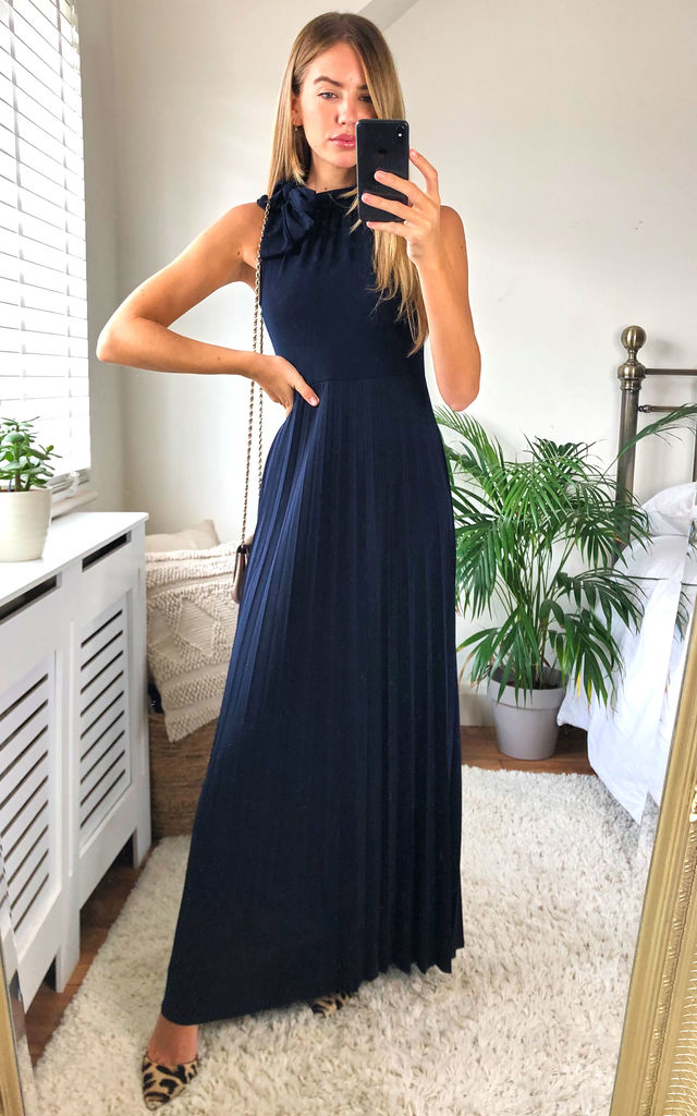 Bow Detail High Neck Maxi Dress Navy by Mela London