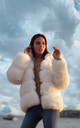 ROMA Hooded Faux Fur Jacket in White by AMO