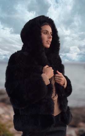 ROMA Hooded Faux Fur Jacket in Black by AMO