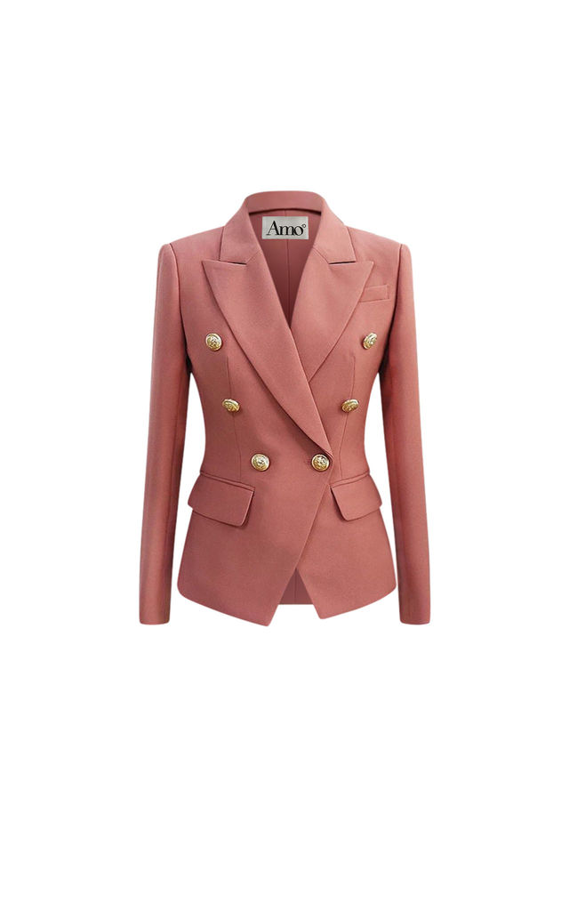 Amara dusky pink double breasted blazer by AMO