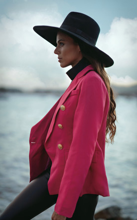 Antigua cerise double breasted blazer by AMO