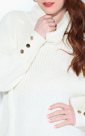 3 Button Cuff Winter White Roll Neck Jumper by KRISP