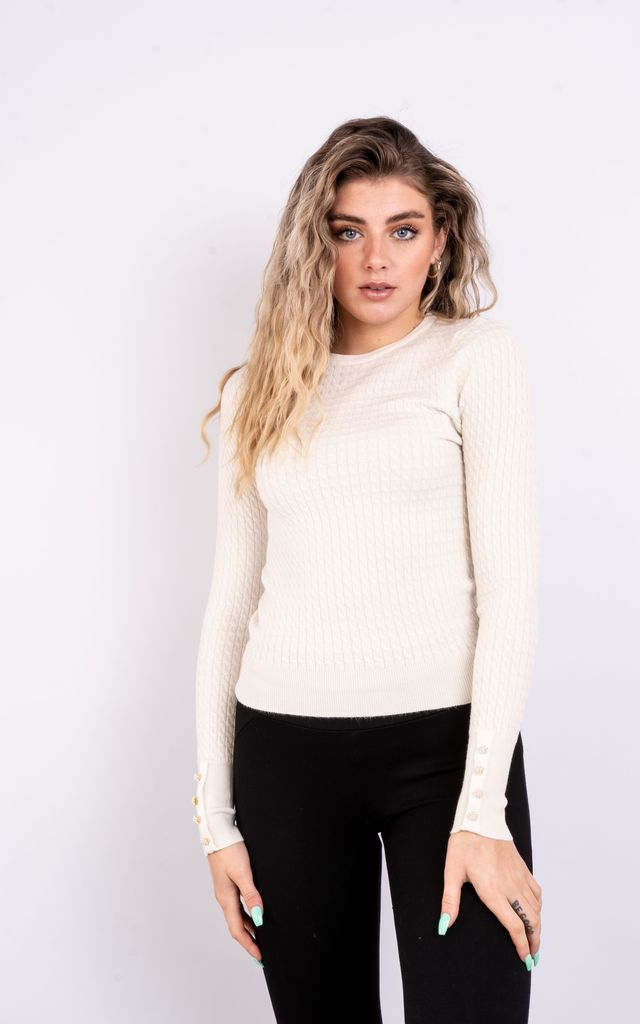 Slim Fit Jumper With Buttons (White) by Lucy Sparks