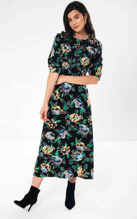 Monica Floral Midaxi Dress in Black by Marc Angelo