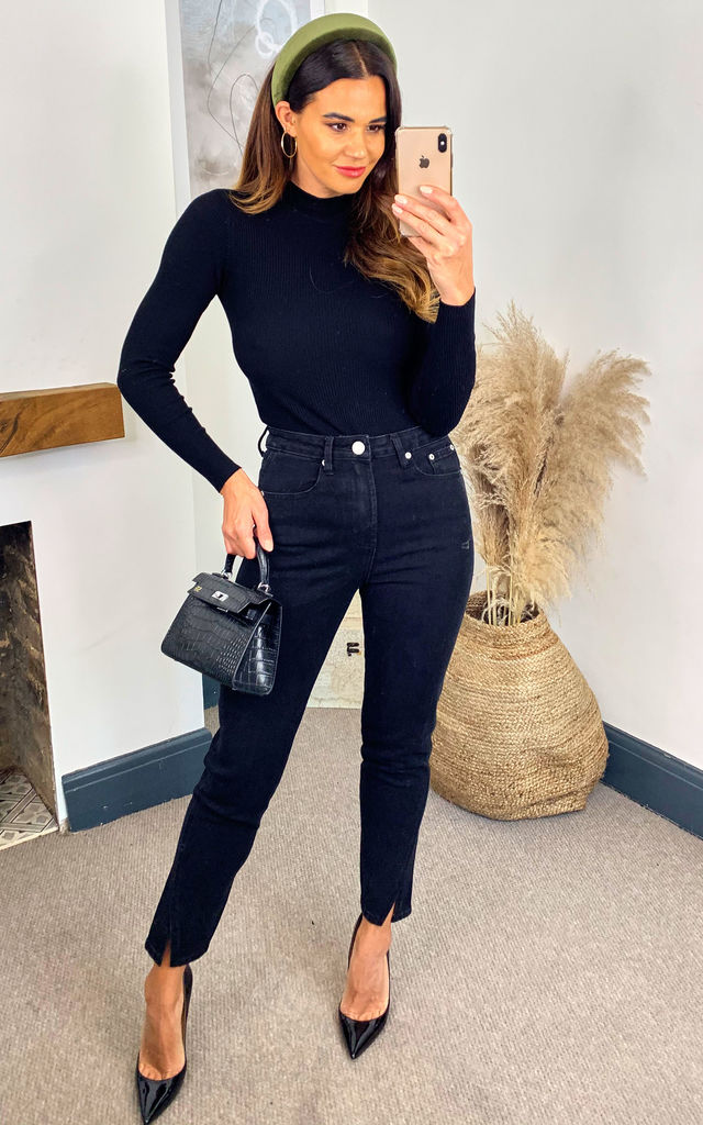 Black Split Front Jeans by Glamorous