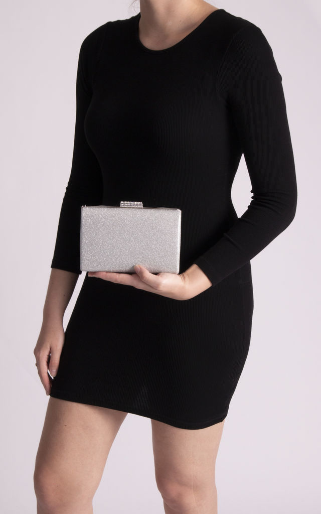 Lucia Silver Diamante Box Clutch Bag by KoKo Couture