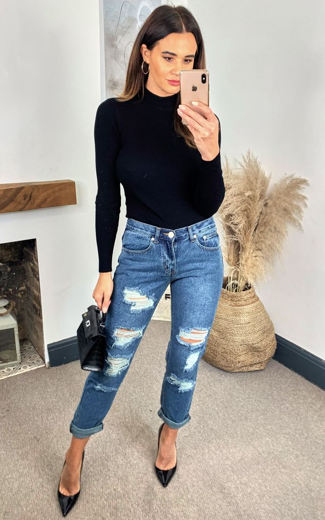 Distressed Dark Blue Wash Denim Jeans by Glamorous