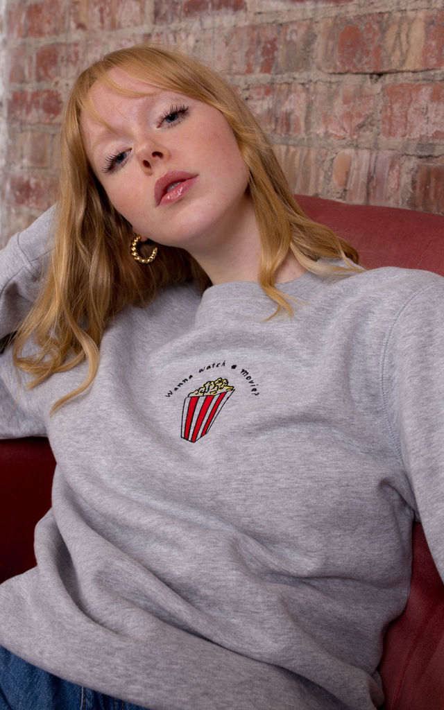 Wanna Watch A Movie? Embroidered Sweatshirt by Rock On Ruby