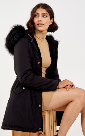 Sylvia Black Reversible Fur & Trench Jacket by Blue Vanilla Product photo