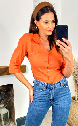 Mona Orange Low Cut Shirt Top by Collectif Clothing