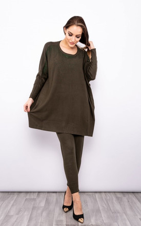 Soft Knitted Sparkle Diamante Jumper Lounge Set in Khaki Green by LOES House