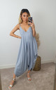 Grey / Baby Blue Saints Plain Maxi Jumpsuit Dress by GIGILAND UK