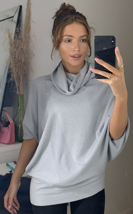 Forte Cowl Neck Oversize Pleat Detail Light Grey Knit by Love Product photo