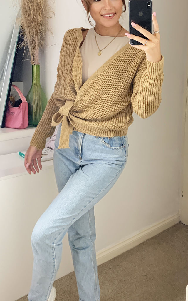 Riga Knitted Chunky Wrap Cardigan with Tie Belt Mustard Yellow by Love