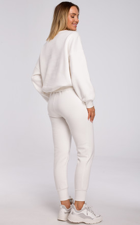 Relaxed Embroidered Sweatshirt in White by MOE