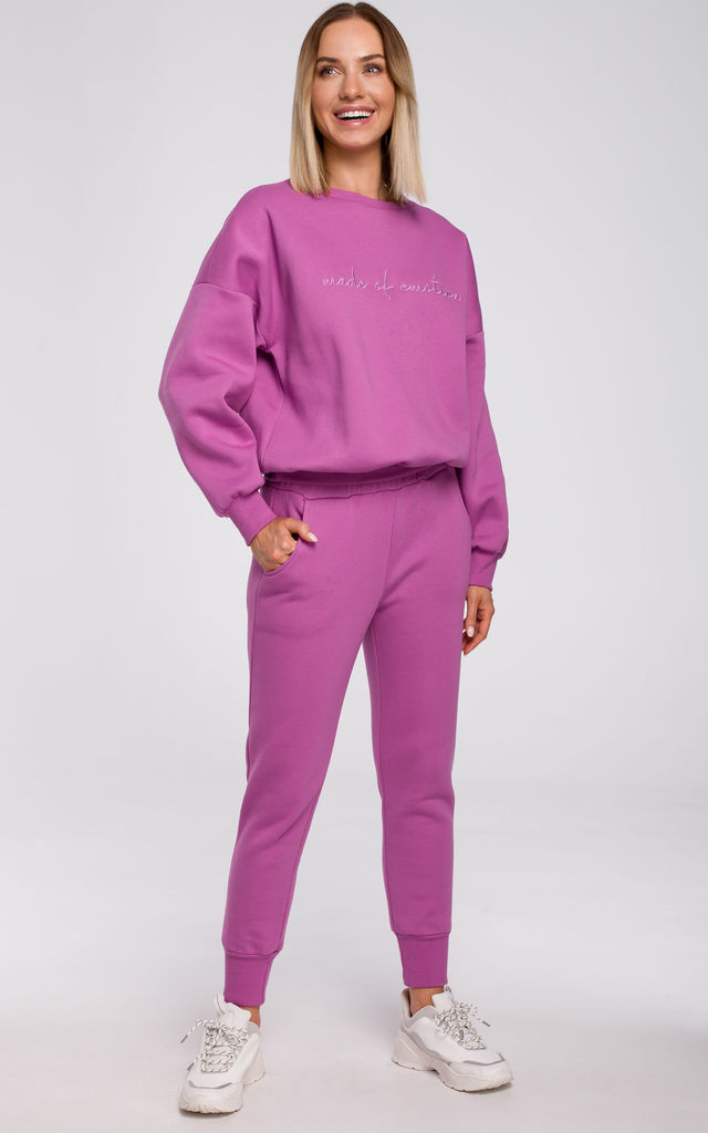 Relaxed Embroidered Sweatshirt in Pink by MOE