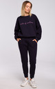 Relaxed Embroidered Sweatshirt in Navy Blue by MOE
