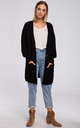 Ribbed Knit Cardigan with Patch Pockets in Black by MOE