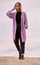 Ribbed Knit Cardigan with Patch Pockets in Violet by MOE