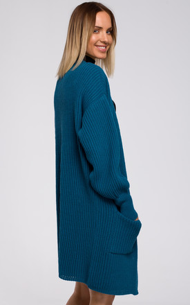 Ribbed Knit Cardigan with Patch Pockets in Green by MOE