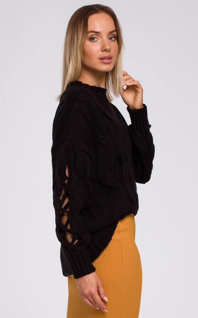 Pullover with Decorative Split Sleeves in Black by MOE