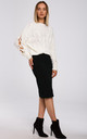 Pullover with Decorative Split Sleeves in White by MOE