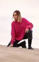 Pullover with Decorative Split Sleeves in Pink by MOE