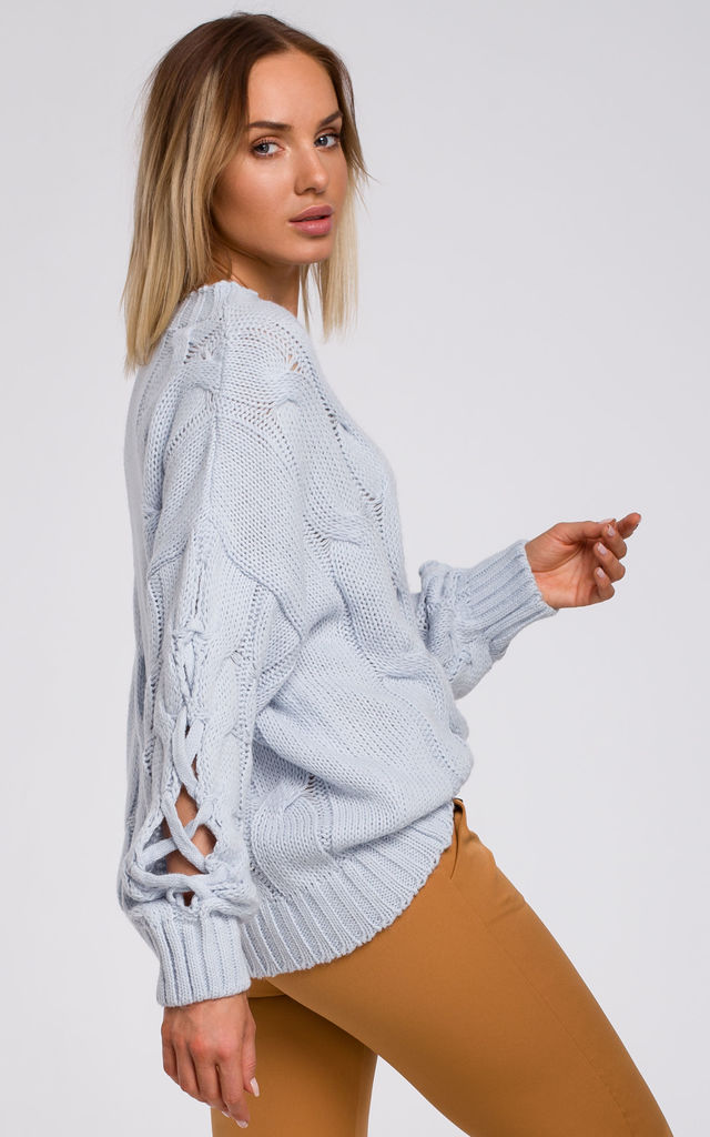 Pullover with Decorative Split Sleeves in Blue by MOE