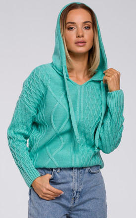 Hooded Sweater in Turquoise by MOE