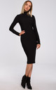 Fitted Turtleneck Knitted Dress in Black by MOE