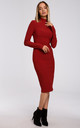 Fitted Turtleneck Knitted Dress in Red by MOE