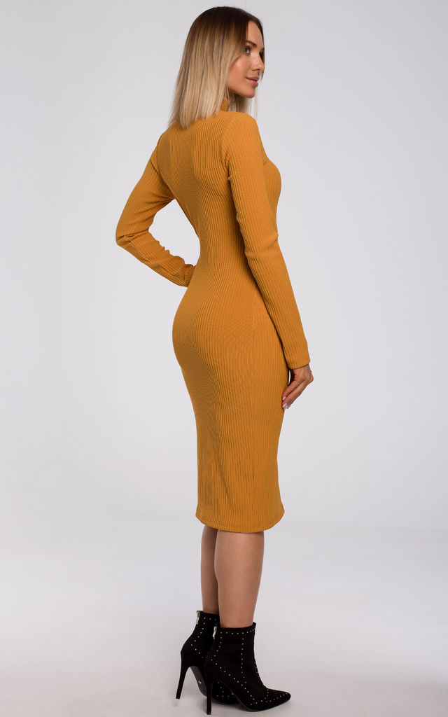 Fitted Turtleneck Knitted Dress in Yellow by MOE
