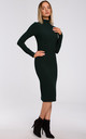 Fitted Turtleneck Knitted Dress in Green by MOE