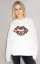 Pink and Orange Leopard Graphic Lip Jumper in White by Sade Farrell