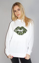 Green and Black Leopard Graphic Lip Jumper in White by Sade Farrell