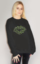 Green and Black Leopard Graphic Lip Jumper in Black by Sade Farrell