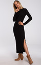 Maxi Dress with Slit in Black by MOE