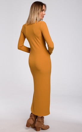 Maxi Dress with Slit in Yellow by MOE