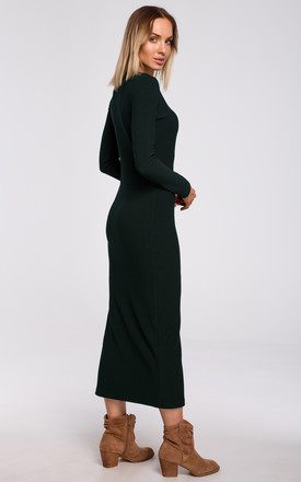 Maxi Dress with Slit in Green by MOE