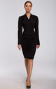 Black Tailored Wrap Dress with Gathered Front by MOE
