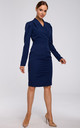 Navy Blue Tailored Wrap Dress with Gathered Front by MOE