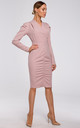 Powder Pink Tailored Wrap Dress with Gathered Front by MOE