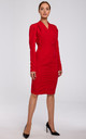 Red Tailored Wrap Dress with Gathered Front by MOE